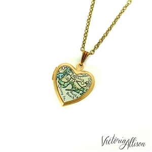 Brooklyn map necklace on small vintage heart locket new for Antique jewelry stores nyc