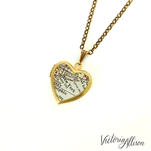 New york city map necklace on small vintage heart locket for Antique jewelry stores nyc